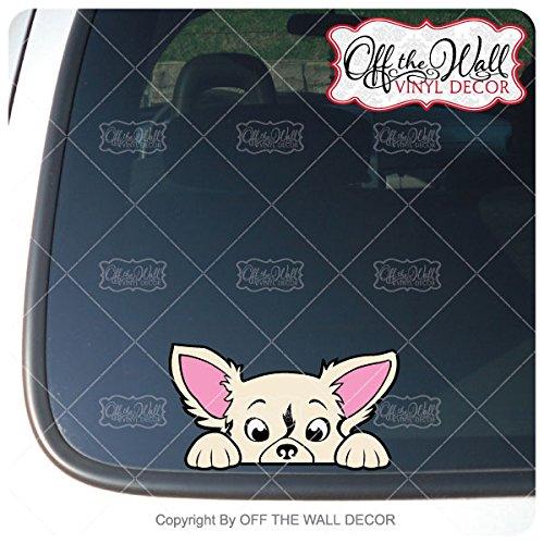 (Peek-A-Boo Long Hair Chihuahua Vinyl Decal Sticker for Cars / Trucks)
