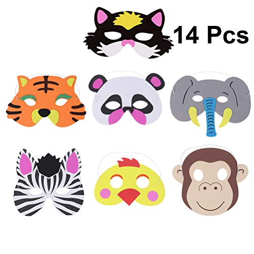 NUOBESTY 14pcs Animal Masks Cartoon EVA Face Masks, Halloween masks Half Face Mask Party Supplies Photo Props Dress-Up Party Favor Craft Kits for Kids ()