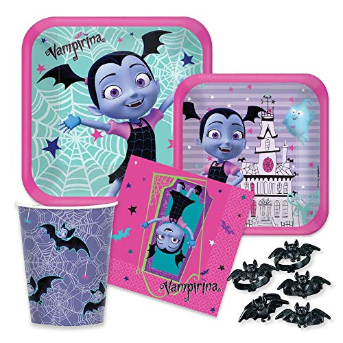 Vampirina Birthday Party Supply Pack - Paper Plates, Napkins, Cups for 16 Guests ()