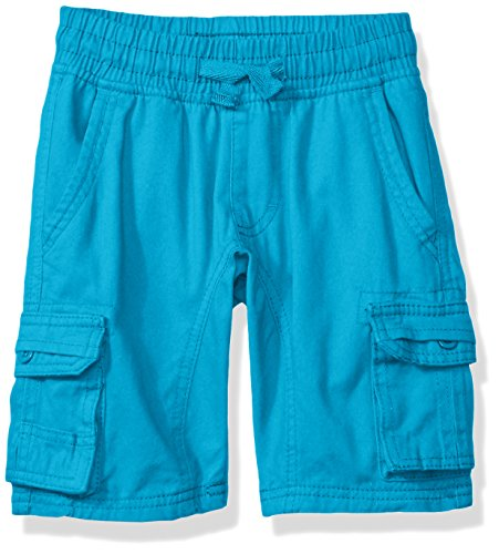Southpole Little Boys' Mini Canvas Cargo Jogger Shorts in Basic Solid Colors, Ocean Blue, Large