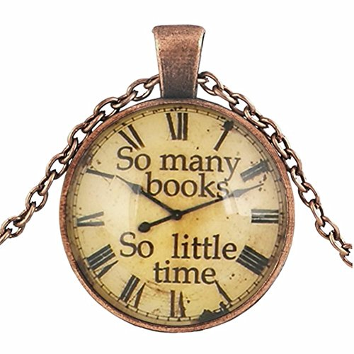 So Many Books, So Little Time Book Lover Gifts Clock Art Pattern Glass Cabochon Creative Sweater Chain Necklace Pendant for Girlfriend, Wife, Mom (Necklace Clock)