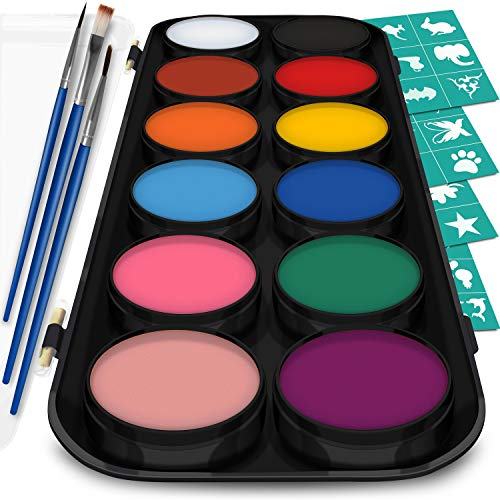 Face and Body Paint Kit for Kids - Set of 12 Classic Colors with Flat and Detail Painting Brushes - Comes w/ 30 Design Stencils - Non Toxic, Water Based and FDA Compliant]()