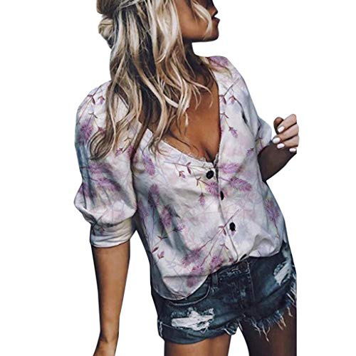 Kulywon Tops for Women, Summer Casual V Neck Print 3/4 Sleeve Buttons Down T-Shirt Blouses 2019