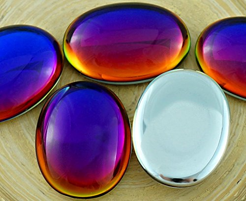 2pcs Crystal Rainbow Dichroic Vitrail Volcano Blue Valentine Pink Yellow Oval Domed Czech Glass Cabochon 25mm x 18mm 25mm Dichroic Glass