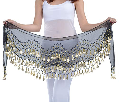 Belly Dance Hip Scarf Black Gypsy Skirt with Coins Gypsy Scarves for Women