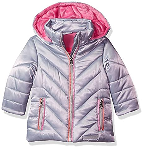 London Fog Baby Girls Satin Quilted Puffer Jacket Coat, Silver, 18M - Satin Puffer