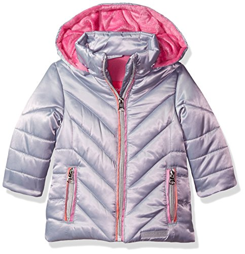 London Fog Baby Girls Satin Quilted Puffer Jacket Coat, Silver, - Coat Down Satin