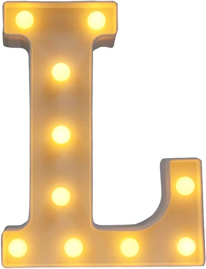 CJWPOWER Room Decor, LED Letter Signs, Cute Home Decor, Light Up Letter Signs for Wall, Bedroom, Party Decorations, Wedding, Birthday. Night Light and More (L)