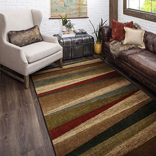 "Mohawk Home Mayan Sunset Sierra Stripe Accent Area Rug, 1'8″x2'10"", Tan"