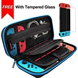 Hestia Goods Switch Case and Tempered Glass Screen Protector for Nintendo Switch - Hard Shell Travel Carrying Case Pouch Case for Nintendo Switch Console & Accessories, Streak Blue ...