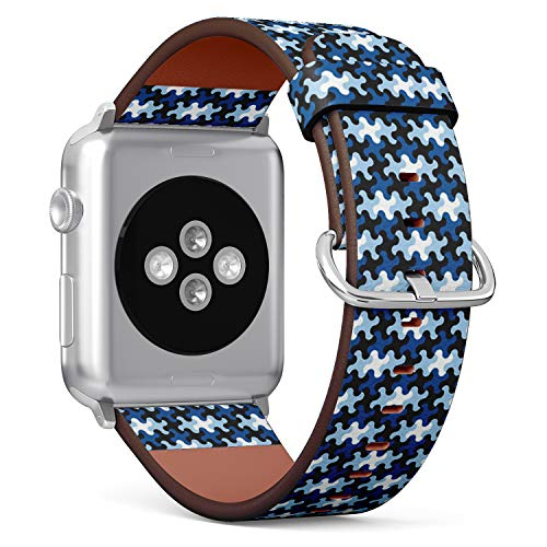 (Compatible with Apple Watch (Small 38mm/40mm) Series 1,2,3,4 - Leather Band Bracelet Strap Wristband Replacement - Puzzle Piece Blue)