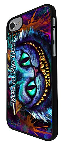 """000753 - Cheshire Cat We're All Mad Here Design iphone 7 Plus 5.5"""" Hülle Fashion Trend Case Back Cover Metall und Kunststoff - Schwarz"""