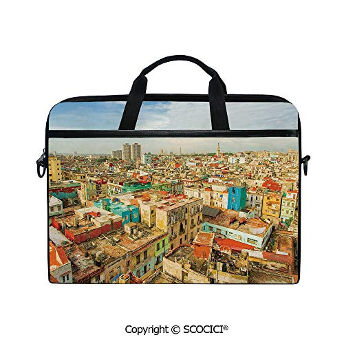 Portable Ultrabook Soft Sleeve Laptop Bag Case Cover Panorama of Havana City Vedado District in Cuba Old Colorful Houses Historic Decorative Compatible with HP Dell Lenovo