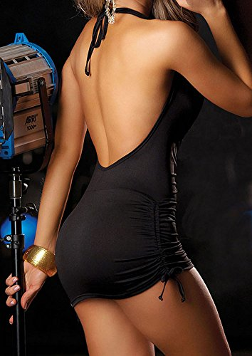 Queen.M Sexy Lingerie Party Night Out Dress Halter Deep V Neck Sleeveless Clubwear