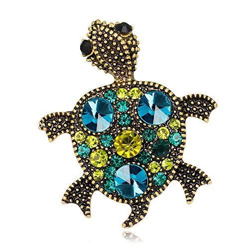 CHUYUN Gold Wedding Broach Hijab Pin Vintage Jewelry Brooch Bouquet Tortoise Turtle Lapel Pin (yellow)