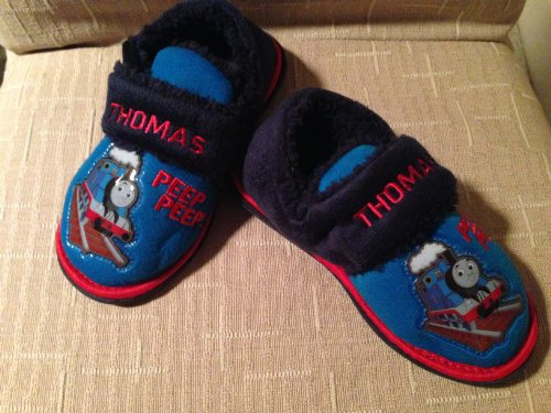 Thomas the Tank Engine Plush Slippers Shoes Comfy Warm Boy Shoe Size 6, Great for Halloween, Winter Gift (Thomas The Tank Engine Slippers)
