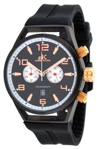 Adee Kaye #AK7232-MIPRG Men's Black IP Silicone Rubber Strap Chronograph Watch