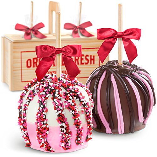 Golden State Fruit Heartfelt Milk and White Chocolate Covered Caramel Apples Gift Crate Chocolate Covered Gourmet Apple