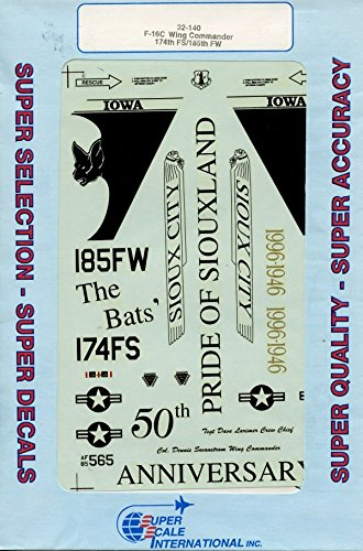SuperScale Decals 1:32 F-16C Wing Commander 174th FS//185th FW #32-140