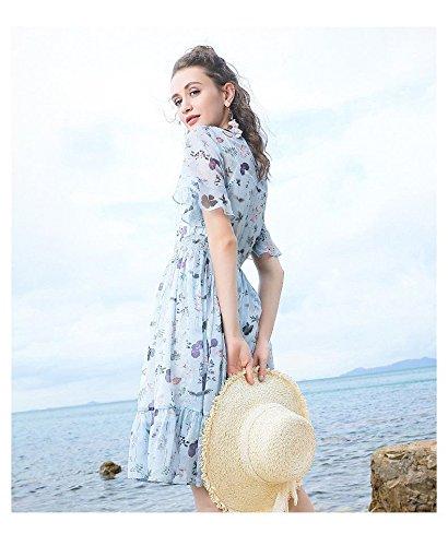 Nouveau Bleu l Robes Manches Mousseline fond Une nbsp;jarrete 2018 Robe D'été Jupe Migmv À Courtes En wZISxq5