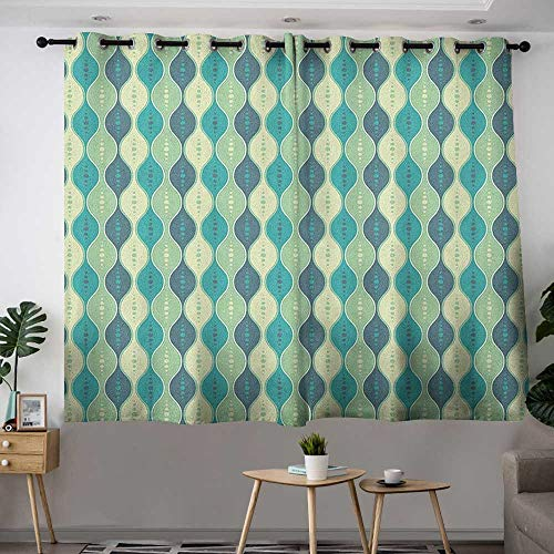 Zodel Thermal Insulating Blackout Curtains Abstract Oval Curved Vertical Lines with Classic Effects Dots Retro Graphic for Bedroom Grommet Drapes W 72