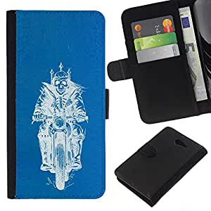 KingStore / Leather Etui en cuir / Sony Xperia M2 / Biker Rey de motos Chopper Azul