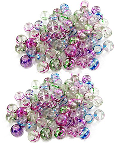 Linpeng Fuchsia Green Blue Lines 8mm Round Swirl Glass 130 Beads Total ()