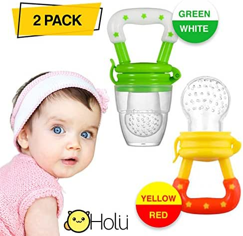 Feeding Pacifier for Babies – Pack of 2 Silicone Pacifiers - Baby Feeder Fresh Food – Easy to Use and Clean – Helps with Babies' Teething – Great Baby Shower Gift