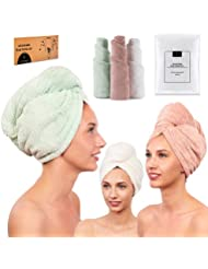 Microfiber Hair Towel for Women - Drying Twist Wrap for Curly, Long, Thin or Short Hair – Ultra Absorbent & Anti Frizz Turban for Sleeping and Showering – 3 Pack (Ivory/Pink/Green)