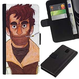 Be-Star la tarjeta de Crédito Slots PU Funda de cuero Monedero caso cubierta de piel Para Samsung Galaxy Note 3 III ( Man Portrait Art Cigarette Beard Brown Smoke )