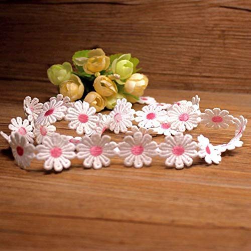 7 Yards Daisy Flower Lace Trim Embroidered Lace Applique Ribbon Fabric for Sewing DIY Handcraft Wedding Costume Hat Decoration (Pink)