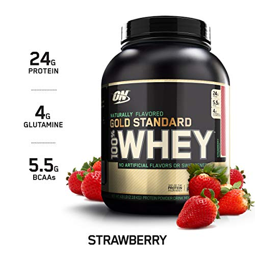 OPTIMUM NUTRITION GOLD STANDARD 100% Whey Protein Powder, Naturally Flavored Strawberry, 4.8 Pound (Delicious Strawberry Protein)