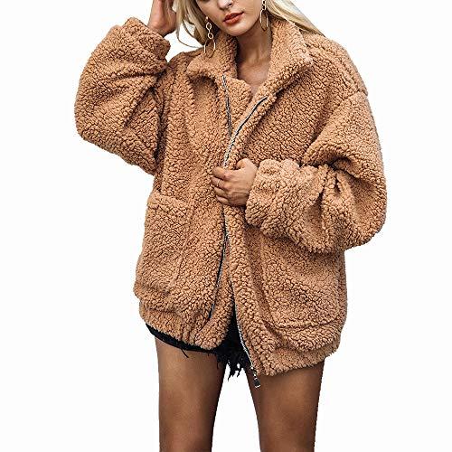 HAHASOLE Women Faux Shearling Coat Oversized Zip Open Front Long Sleeve Warm Winter Fuzzy Fleece Teddy Bear Jacket with Pockets (Khaki, S (US Size 0~2))