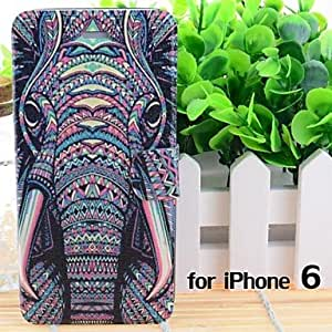 QHY Cartoon Elephants Pattern Leather Full Body Cases with Stand and Slot for iPhone 6