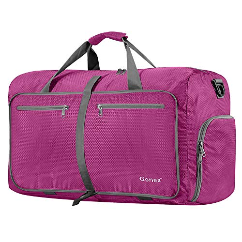 Gonex 80L Packable Travel Duffle Bag, Large Lightweight Luggage Duffel (Rose Red) (Best Duffle Bags For International Travel)