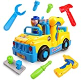 Take-A-Part Bump and Go Musical Truck with Lights TG657 – Fun Take Apart Construction Toy for Toddlers (Boys & Girls) Aged 3,4,5,6 – Includes Sounds and Toy Electric Drill By ThinkGizmos