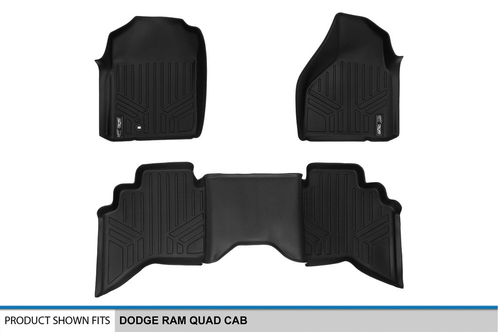 2003-2009 Ram 2500//3500 Quad Cab SMARTLINER Floor Mats 2 Row Liner Set Black for 2002-2008 Dodge Ram 1500 Quad Cab