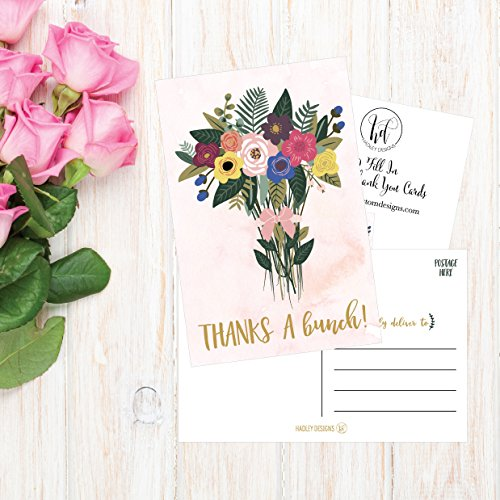 50 4x6 Watercolor Floral Thank You Postcards Bulk, Cute Boho Flower Thank You Note Card Stationery For Wedding, Bridesmaid, Bridal or Baby Shower, Teachers, Appreciation, Religious Event, Business Etc Photo #4