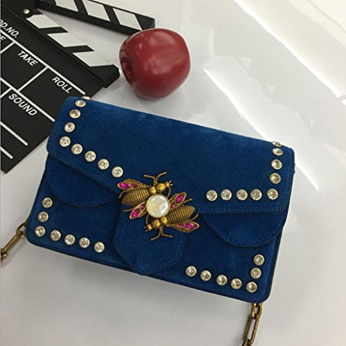 Totalizador Bolso de Señora Leather Leather Shoulder Bag Scrub Bag Rivet Messenger Bag (Tamaño: 21.5 * 6.5 * 14cm) (Color : Bare Powder) Lake blue