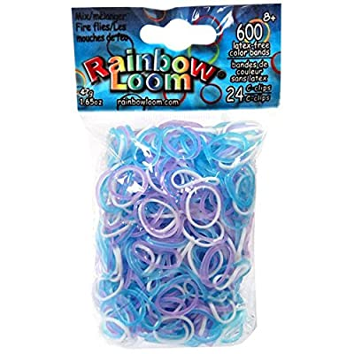 Authentic Rainbow Loom Bands - Fireflies - 600 Bands & 24 C-clips (B0167)): Toys & Games