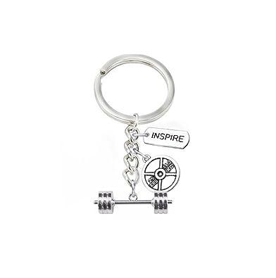 Barra para mancuernas de pesas llavero Inspire charms llavero mancuerna Key cadena accesorios Joyas: Amazon.es: Joyería
