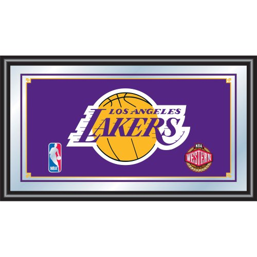 Glass Logo Under Team (NBA Los Angeles Lakers Framed Logo Mirror)