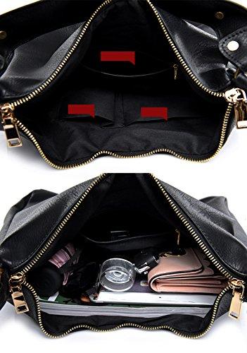 Grey Hobo Shoulder Womens Covelin Bag Handbag Large Retro Leather Capacity Tote Purse qBIw7CxP