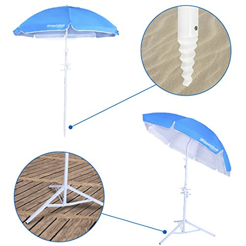 (EasyGO Products 5' Easygoshade Portable Sun Shade Umbrella/Tripod Base Beach Stake & Tilt, Beach, Sports,)