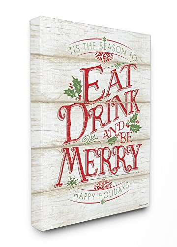 Stupell Industries Eat Drink and Be Merry Canvas Wall Art, 24 x 30, Multi-Color (Eat Drink Be Merry Wall Canvas)