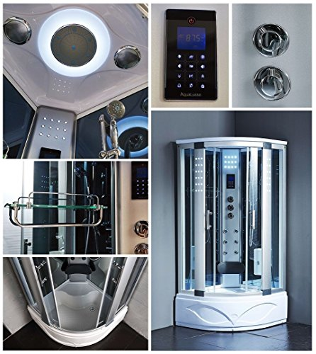 KOKSS 8004-A Corner Shower Enclosure with Powerful Hydro Massage Jets Hydro Massage Finish