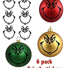 grinch 8 pack ornament stickers/_christmas/_holidays/_tree/_decoration/_kids/_black/_grren/_red
