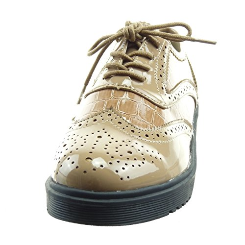 Sopily - Zapatillas de Moda Zapato acento Tobillo mujer perforado piel de serpiente patentes Talón Tacón ancho 3.5 CM - Caqui