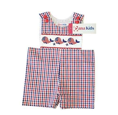 - Dana Kids Boys July Fourth Whale Smocked Shortall 6M-4T (4T)