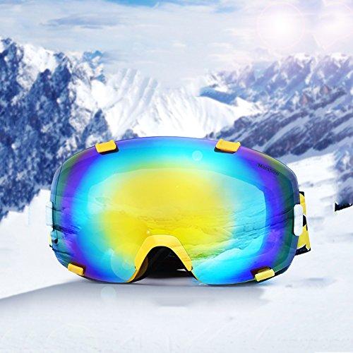 SE7VEN Lunettes De Neige Multicolore,Lentille Double Couche Anti-buée Panoramique Snowboard Goggle Otg Adulte Snocross Motoneige Escalade jaune